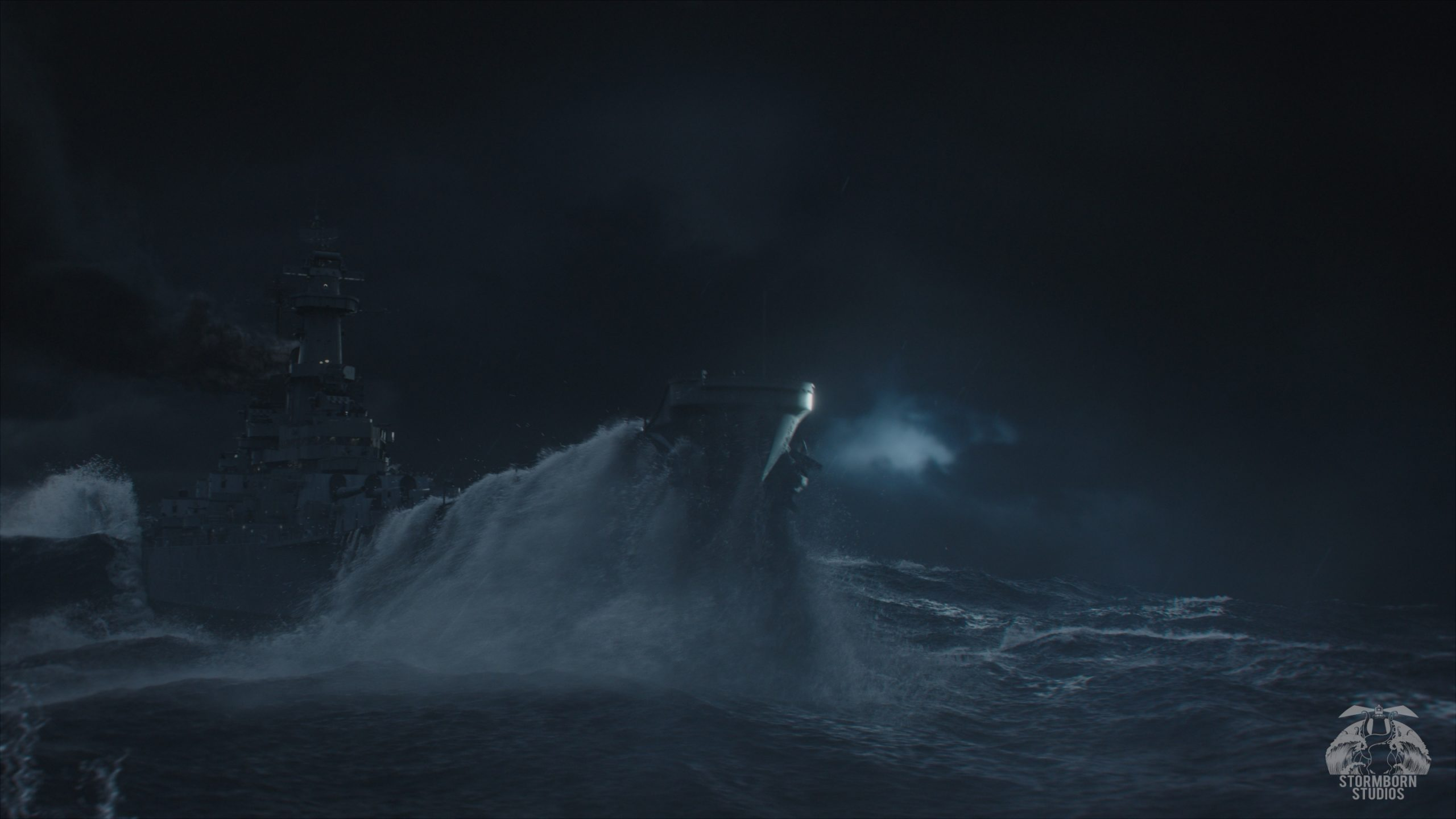 Stormborn Studios Ship in tidal wave