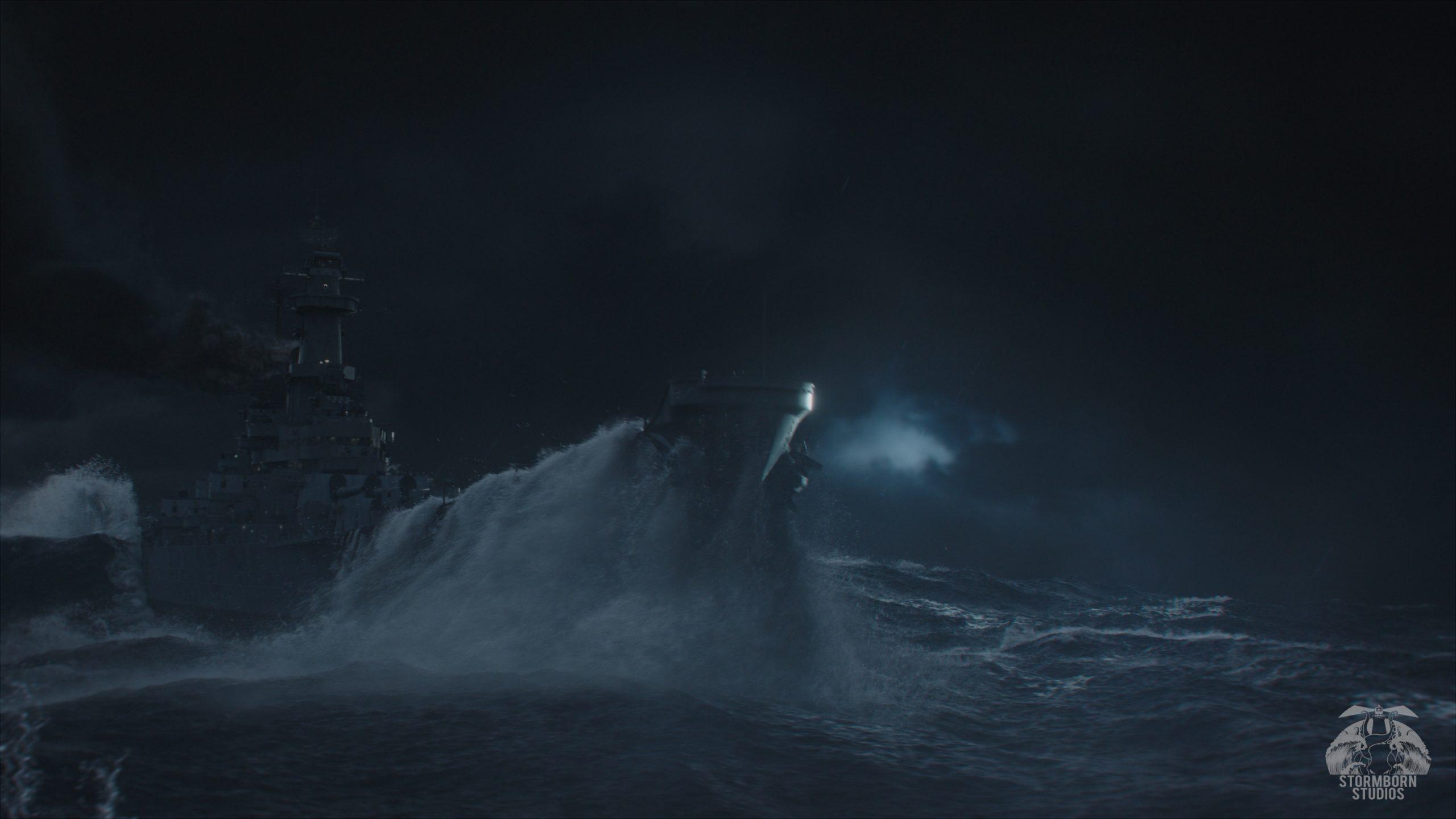 Stormborn Studios Ship in tidal wave